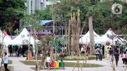Suasana bekas area park and ride di kawasan Jalan MH Thamrin 10, Jakarta, Sabtu (21/12/2019). Lokasi yang dulunya lahan parkir beragam kendaraan bermotor akan dialihfungsikan menjadi kawasan kegiatan kuliner yang diharapkan bisa menggerakkan perekonomian. (Liputan6.com/Helmi Fithriansyah)