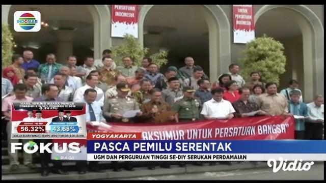 Perguruan tinggi di DI Yogyakarta serukan perdamaian usai pemilu serantak.