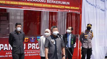 Bupati Garut sekaligus Ketua Satgas Covid-19 Garut Rudy Gunawan meresmikan 9 Kawasan Patuh Prokes (KPP) di kawasan perkotaan dalam Pelaksanaan Pemberlakuan Pembatasan Kegiatan Masyarakat (PPKM) Level 3 saat ini.