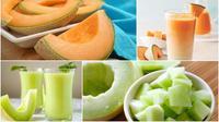 Manfaat berbagai jus melon, baik melon biasa dan melon madu.