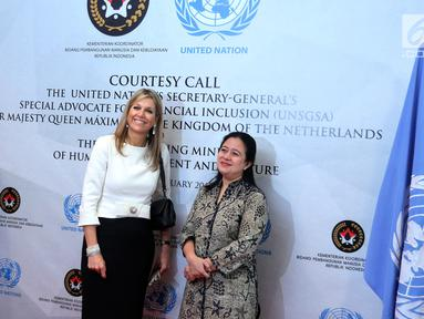 Menko PMK, Puan Maharani menerima kunjungan Ratu Maxima dari Belanda di Kemenko PMK, Jakarta, Selasa (13/2). Ratu Maxima berkunjung ke Indonesia sebagai Utusan Khusus dari Perserikatan Bangsa-Bangsa (PBB). (Liputan6.com/Johan Tallo)