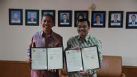 Kepala Badan Geologi Kementerian Energi dan Sumber Daya Mineral (ESDM) Rudy Suhendar dan Ketua Badan Informasi Geospasial (BIG) Hasanudin Z. Abidin.