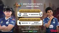 Live streaming grand final Mobile Legends: Bang Bang Southeast Asia, Minggu (13/5/2021) dapat disaksikan melalui platform streaming Vidio, Bola.com, dan Bola.net. (Dok. Vidio)