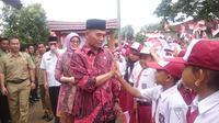 Mekdikbud RI saat berkunjung ke SDN 2 Kabupaten PALI (Liputan6.com/Nefri Inge)