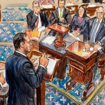 Sketsa artis ini menggambarkan manajer pemakzulan Schiff yang mengajukan argumen dalam persidangan pemakzulan Presiden Donald Trump. [Dana Verkouteren / AP Photo]