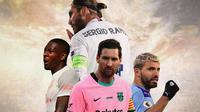 Ilustrasi - Lionel Messi, Sergio Ramos, Sergio Aguero, David Alaba (Bola.com/Adreanus Titus)