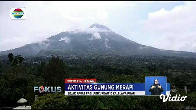 Terekam kamera pengawas luncuran lava pijar terjadi Jumat malam pukul 19.51 WIB mengarah ke hulu Kali Gendol, Sleman.