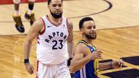 Aksi-aksi Stephen Curry di Gim Kelima NBA Finals 2019 Raptors vs Warriors (AP)