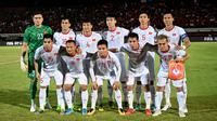 Timnas Vietnam pada laga Kualifikasi Piala Dunia 2022. (AFP/Sonny Tumbelaka)