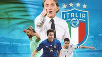 Piala Eropa - Timnas Italia_Roberto Mancini, Gianluigi Donnarumma, Federico Chiesa, Jorginho (Bola.com/Adreanus Titus)
