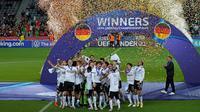 Timnas Jerman berhasil menjuarai Euro U-21 2021 setelah mengalahkan Portugal dengan skor 1-0 pada laga final di Stadion Stozice, Senin (7/6/2021) dini hari WIB. (AP Photo/Darko Bandic)