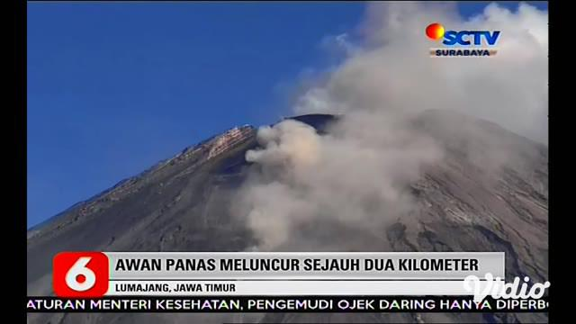 Gunung Semeru di Lumajang, Jawa Timur kembali mengeluarkan guguran awan panas dengan jarak luncur sekitar 2 kilometer dari puncak kawah. Meski demikian, status gunung api tertinggi di Pulau Jawa itu masih level 2 atau waspada.