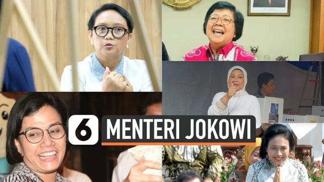 Presiden Jokowi resmi melantik jajaran menteri di Kabinet Indonesia Maju. Ada lima perempuan yang menduduki posisi menteri, baik wajah baru dan lama.