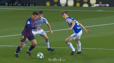 Philippe Coutinho memberi perpisahan kepada pemain legendaris Andres Iniesta dengan cara sempurna - lewat tendangan melengkung fan...