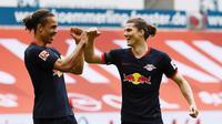 RB Leipzig mencukup Mainz dengan skor 5-0 pada pekan ke-27 Bundesliga, Minggu (25/5/2020). (Twitter/RB Leipzig)