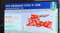 Peta persebaran Corona COVID-19 di Jawa Timur pada Minggu, 10 Mei 2020. (Foto: Liputan6.com/Dian Kurniawan)