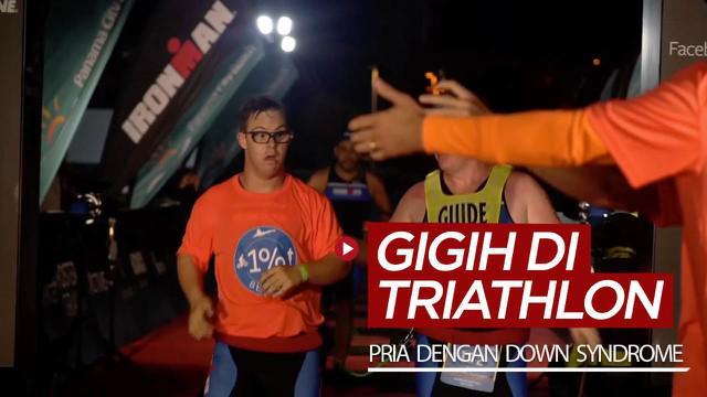 Berita video kegigihan seorang pria dengan down syndrome bisa menyelesaikan lomba triathlon Ironman.