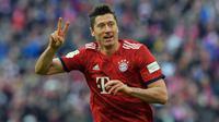 5. Robert Lewandowski (Bayern Munchen) - Lewandowski merupakan pencetak gol terbanyak keenam sepanjang masa di kompetisi Liga Champions dengan torehan 53 gol hanya dalam 38 pertandingan. (AFP/Tobias Schwarz)