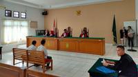 Sidang kasus pembunuhan ME, calon pendeta cantik di Kabupaten Ogan Komering Ilir (OKI) Sumsel (Liputan6.com / Nefri Inge)