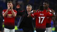 Ole Gunnar Solskjaer mengawali debutnya sebagai manajer Manchester United dengan hasil positif. Solskjaer sukses membawa MU menang 3-1 atas Cardiff City pada laga pekan ke-18 Premier League, Sabtu (22/12/2018). (AFP/CreditGEOFF CADDICK)