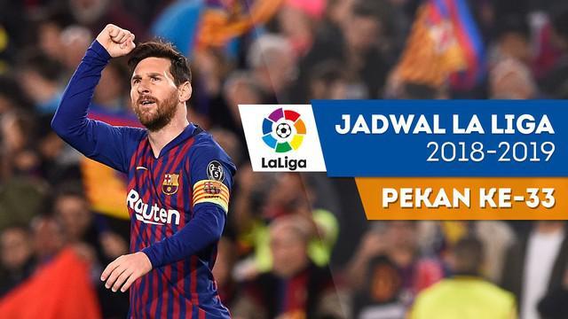 Berita video jadwal La Liga 2018-2019 pekan ke-33. Barcelona ditantang Real Sociedad di Camp Nou, Barcelona, Minggu (21/4/2019).
