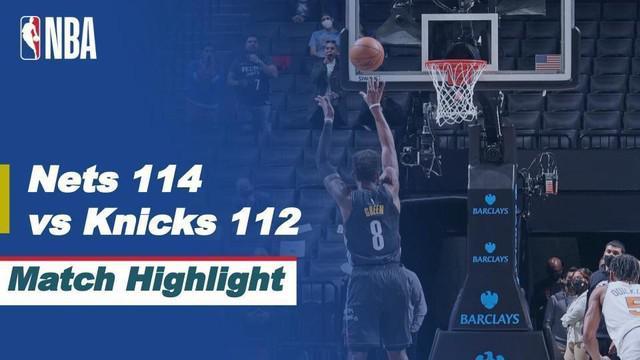 Berita video highlights laga seru NBA 2020/2021 antara Brooklyn Nets melawan New York Knicks yang berakhir dengan skor 114-112, Selasa (6/4/2021) pagi hari WIB.