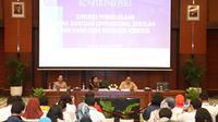 Konferensi pers Sinergi Pengelolaan Dana Bantuan Operasional Sekolah dan Dana Desa Berbasis Kinerja di Jakarta, Senin (10/2).