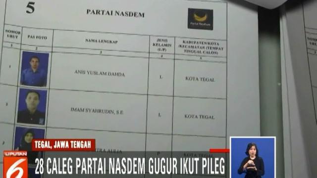 Atas dasar PKPU tersebut, KPU Kota Tegal menjatuhkan sanksi kepada DPD Partai Nasdem Kota Tegal tidak bisa mengikuti pemilu 2019.