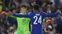Pada babak penalti, Chelsea sukses mengalahkan Aston Villa dengan skor 4-3. Ben Chilwell menjadi satu-satunya penendang Chelsea yang gagal mengeksekusi bola. (AP/Frank Augstein)
