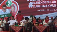Megawati dan Cak Imin Turun Gunung Kampanyekan Gus Ipul-Puti di Madiun. (Liputan6.com/Lizsa Egehem)