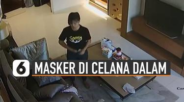 Beredar video CCTV pegawai rumah tangga memasukkan masker ke celana dalam. Kejadian ini diunggah oleh artis Eko Patrio melalui akun media sosial pribadinya.