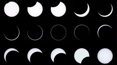 Kombinasi foto menunjukkan sebuah proses gerhana matahari annular yang dilihat dari di Estancia El Muster, Argentina (26/2). Dalam fenomena alam ini, matahari tertutup oleh bulan sehingga membentuk lingkaran cahaya atau cincin api. (AFP/Alejandro Pagni)