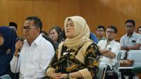Bupati Bekasi nonaktif Neneng Hasanah Yasin menjalani sidang dakwaan di Pengadilan Tipikor Bandung. (Huyogo Simbolon)