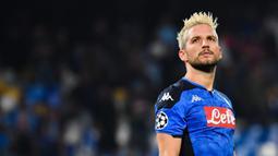 1. Dries Mertens (122 gol) - Mertens berhasil menggeser Marek Hamsik sebagai pencetak gol terbanyak di Napoli. Pemain asal Belgia ini telah menghasilkan 122 gol untuk Napoli sampai saat ini. (AFP/Andreas Solaro)