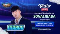 Live streaming Main Bareng GTA V Online bersama Sonalibaba, Sabtu (6/3/2021) pukul 19.00 WIB dapat disaksikan melalui platform Vidio. (Dok. Vidio)