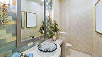 Anda tak harus menyiapkan anggaran besar untuk membuat kamar mandi yang mewah. Kuncinya adalah pemilihan warna dan aksesoris yang tepat. (Image: Pexels)
