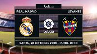 Jadwal La Liga 2018-2019 pekan ke-9, Real Madrid vs Levante. (Bola.com/Dody Iryawan)