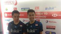 Ganda putra Indonesia, Muhammad Rian Ardianto dan Fajar Alfian, di Indonesia Masters 2019. (Bola.com/Benediktus Gerendo Pradigdo)