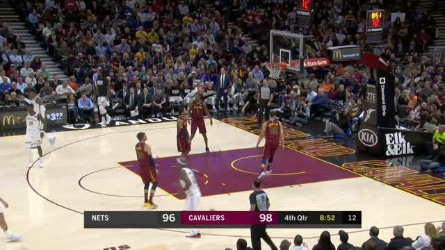 Berita video game recap NBA 2017-2018 antara Cleveland Cavaliers melawan Brooklyn Nets dengan skor 129-123.