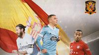 Ilustrasi - Sergio Ramos, Iago Aspas, Thiago Alcantara (Bola.com/Adreanus Titus)