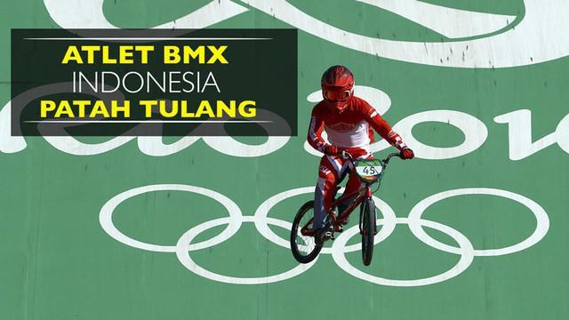 Video atlet Indonesia, Toni Syarifudin, mengalami patah tulang saat balapan pada perempat final BMX di Olimpiade Rio 2016, Kamis (18/8).