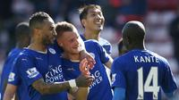 Pemain sambut keberhasilan Jamie Vardy cetka dua gol lawan Sunderland (Reuters)