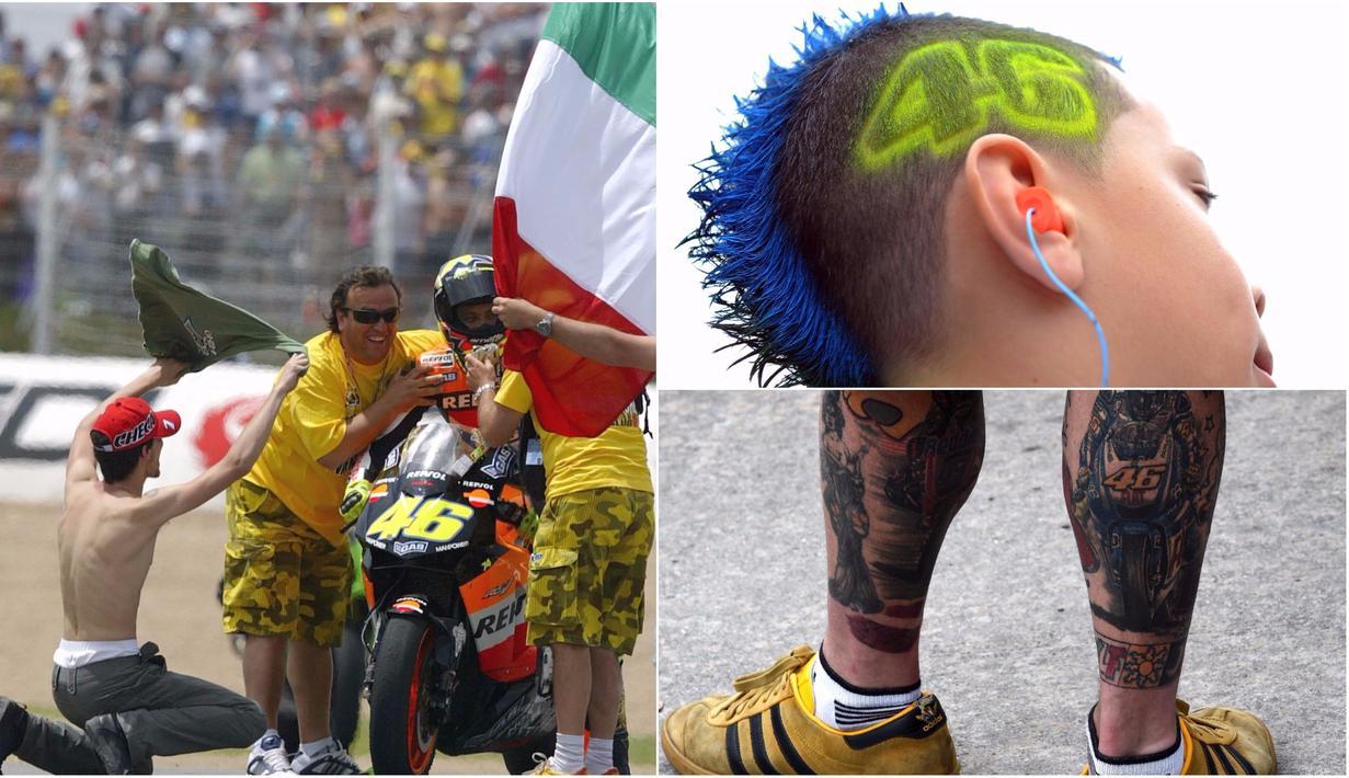 Berikut ini foto-foto yang menunjukan beragam aksi fanatisme dari penggemar pebalap MotoGP, Valentino Rossi. (Kolase foto-foto dari AFP)