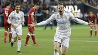 Momen setelah Gareth Bale mencetak gol ke gawang Liverpool pada laga final Liga Champions (AP/Sergei Grits)