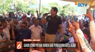 Safari Politik ke Majalengka, Sandiaga Uno janji bantu tingkatkan produksi durian dan batu alam.