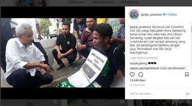 Pria Ini Rela Jalan Kaki 5 Hari demi Dukung Ganjar Pranowo