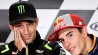 Pembalap Yamaha Tech 3, Johann Zarco dan rider Repsol Honda, Marc Marquez menempati dua posisi terdepan pada kualifikasi MotoGP Prancis 2018. (Jean-Francois MONIER / AFP)