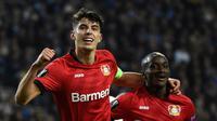 Gelandang Leverkusen, Kai Havertz, merayakan gol yang dicetaknya ke gawang FC Porto dalam laga UEFA Europa League di Stadion Dragao, Porto pada 27 Februari 2020. Bayer Leverkusen menang 3-1 atas Porto. (AFP/Miguel Riopa)