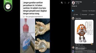 Gambar Tangkapan Layar Klaim Hand Sanitizer Ini Mengandung Virus (sumber: Facebook)