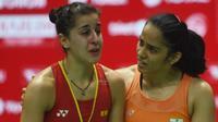 Saina Nehwal tak puas dengan gelar Indonesia Masters 2019 yang diraihnya karena menang retired dari Carolina Marin. (AFP/Adek Berry)